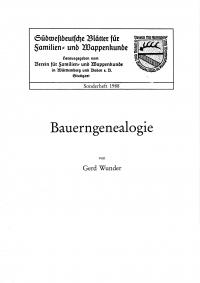 Bauerngenealogie (Sonderheft 1988)