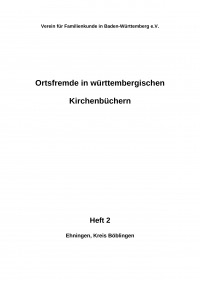 Ortsfremde in Württemberg Heft 02: Ehningen