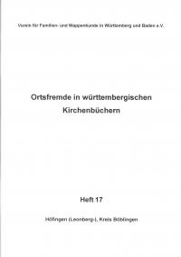 Ortsfremde in Württemberg Heft 17: Höfingen