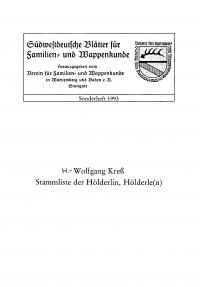 Stammliste der Hölderlin, Hölderle(n) (Sonderheft 1993)